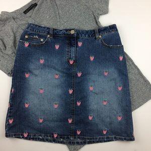 Lilly Pulitzer Strawberry embroidered denim skirt